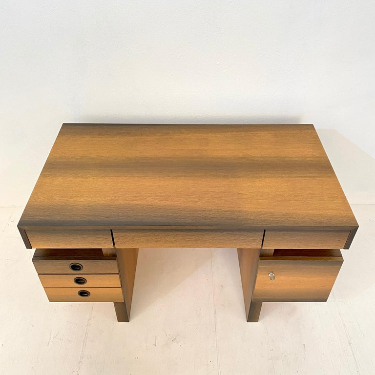 Late 20th Century Mid Century Brutalist Desk in Bog Oak and Mahogany, around 1970s For Sale