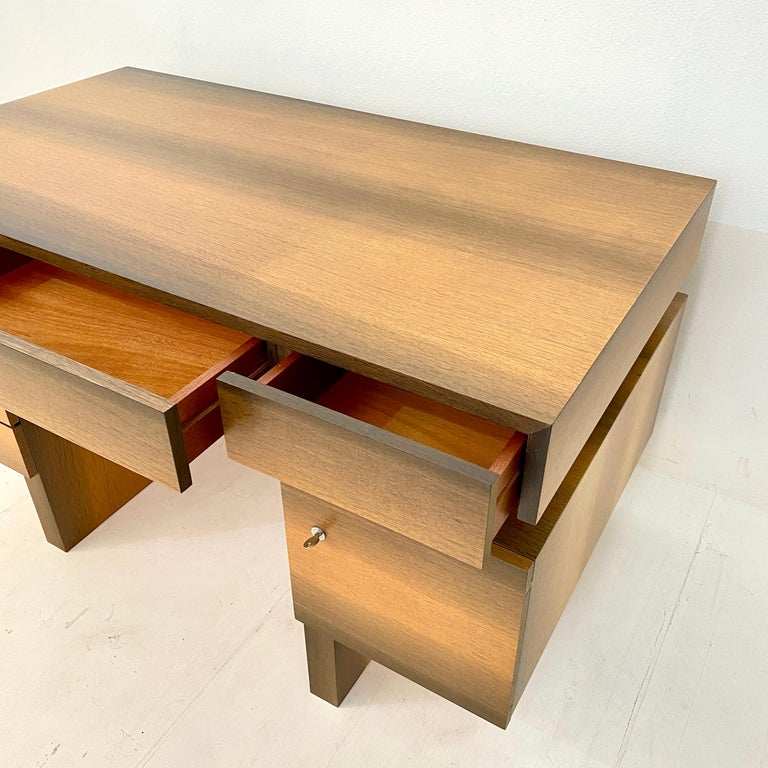 Mid Century Brutalist Desk in Bog Oak and Mahogany, around 1970s For Sale 2