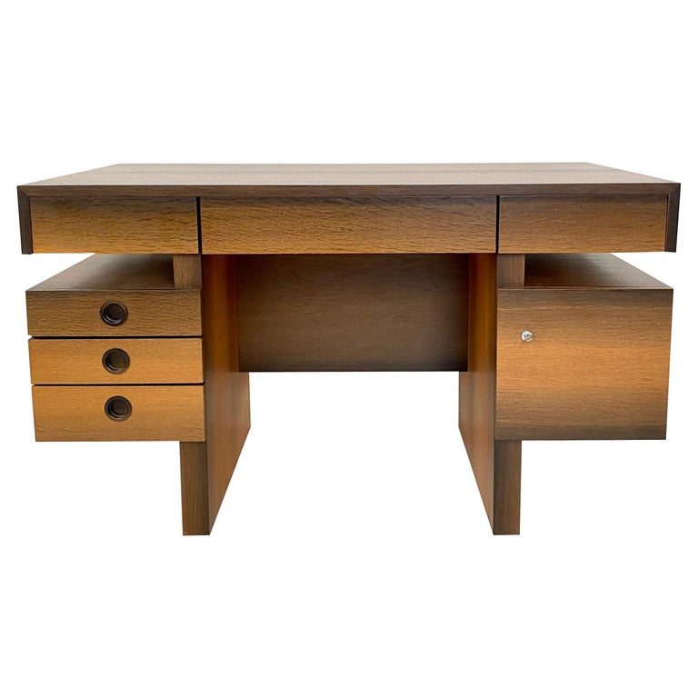 Mid Century Brutalist Desk in Bog Oak and Mahogany, around 1970s For Sale