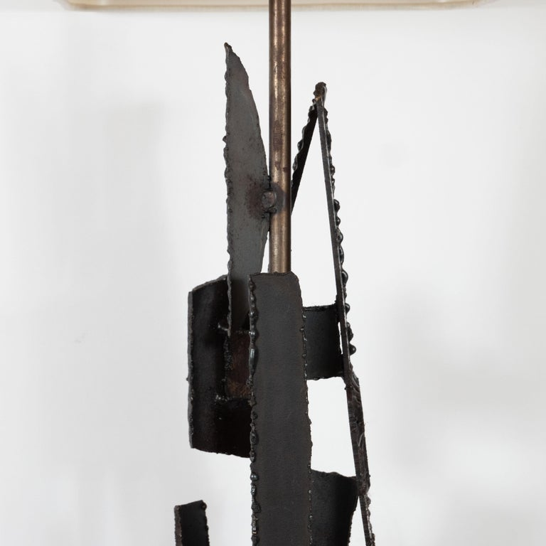 Midcentury Brutalist Iron Mosaic Table Lamps by Harry Balmer for Laurel Company For Sale 1