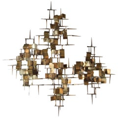 Midcentury Brutalist Metal Silver Gold Gilt and Copper Nail Art Wall Sculpture