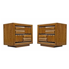Midcentury Brutalist Oak Nightstand End Tables, Carved Wood Drawer Fronts