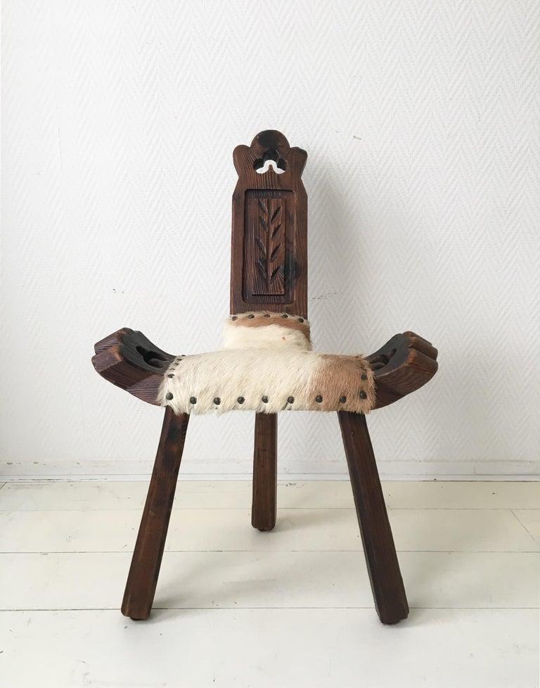 Midcentury Brutalist Spanish Stools, Chairs 5