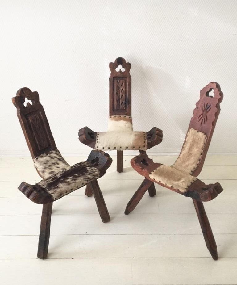 Midcentury Brutalist Spanish Stools, Chairs 8