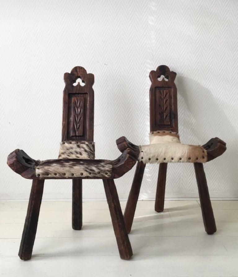 Midcentury Brutalist Spanish Stools, Chairs 9