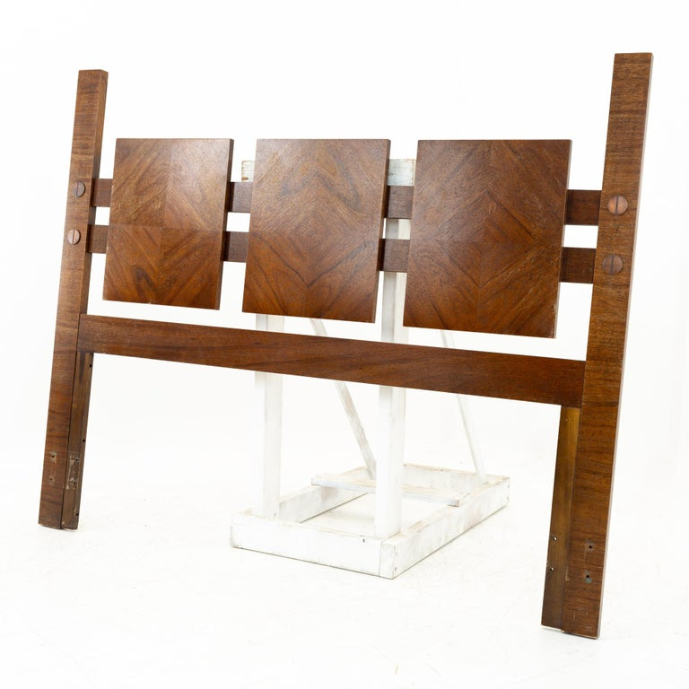 Mid century Brutalist walnut Queen headboard This headboard is 60.25 wide x 1.5 deep x 49 inches high  All pieces of furniture can be had in what we call restored vintage condition. That means the piece is restored upon purchase so it's free of