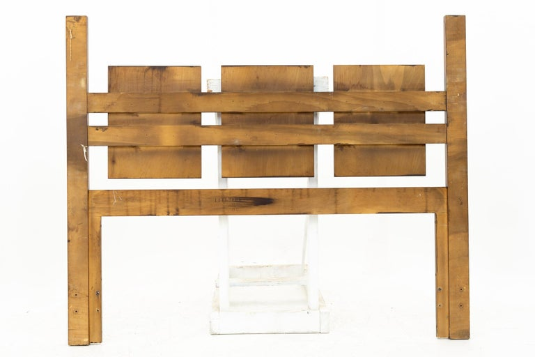 American Mid Century Brutalist Walnut Queen Headboard For Sale