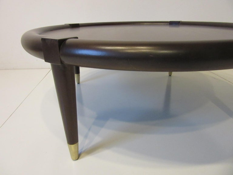 American Midcentury Bull Nose Round Coffee Table For Sale