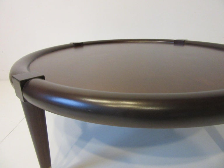 20th Century Midcentury Bull Nose Round Coffee Table For Sale