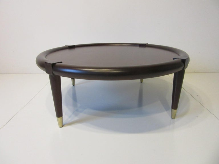 Midcentury Bull Nose Round Coffee Table For Sale 2