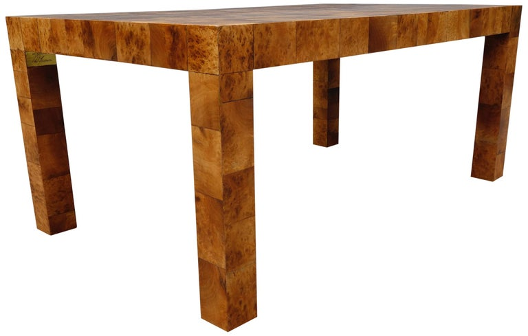 Midcentury Burl and Patchwork Dining Table by Paul Evans For Sale 3