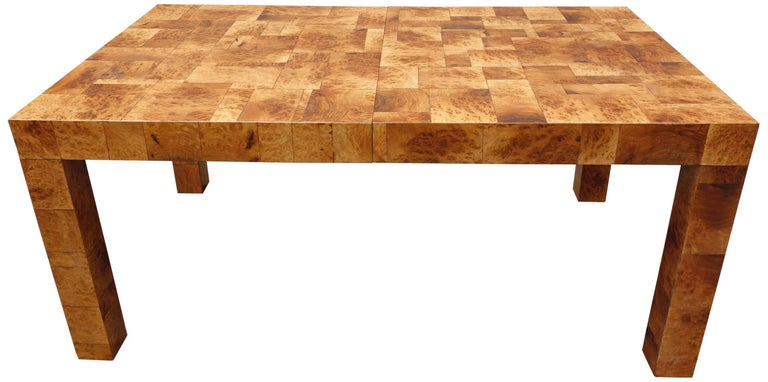 Mid-Century Modern Midcentury Burl and Patchwork Dining Table by Paul Evans For Sale