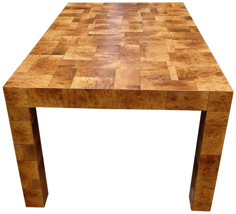 American Midcentury Burl and Patchwork Dining Table by Paul Evans For Sale