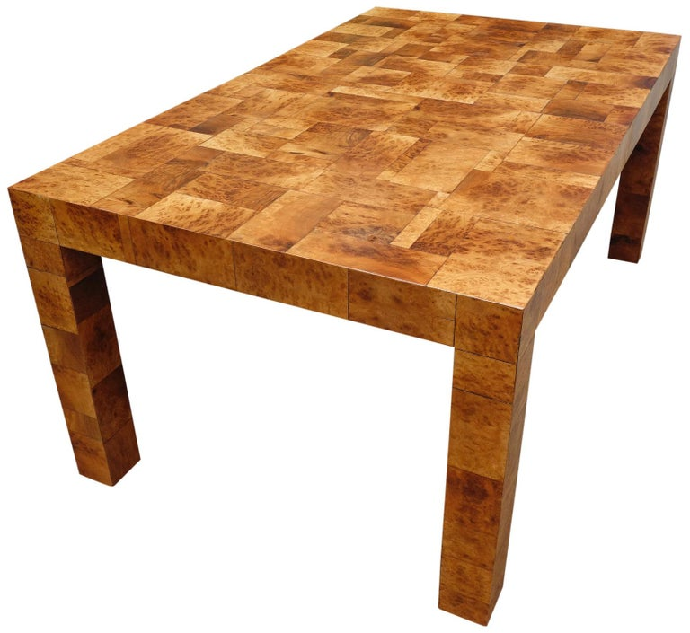 Midcentury Burl and Patchwork Dining Table by Paul Evans In Good Condition For Sale In BROOKLYN, NY