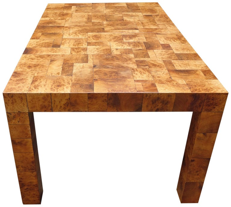 20th Century Midcentury Burl and Patchwork Dining Table by Paul Evans For Sale