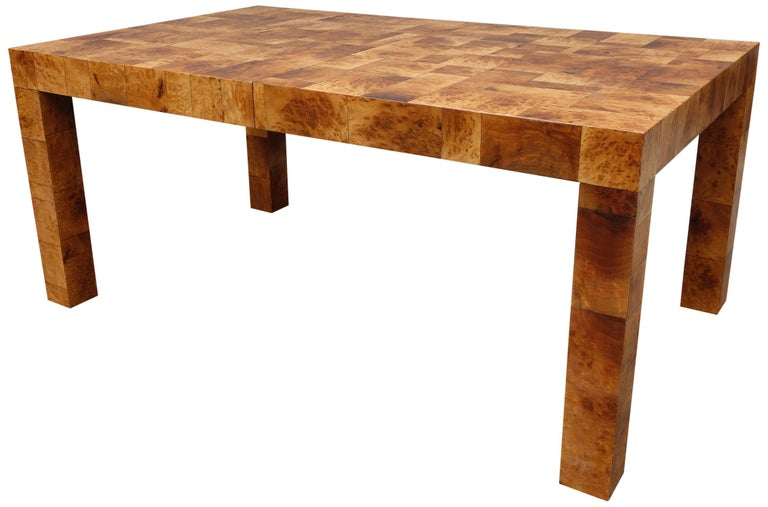 Wood Midcentury Burl and Patchwork Dining Table by Paul Evans For Sale