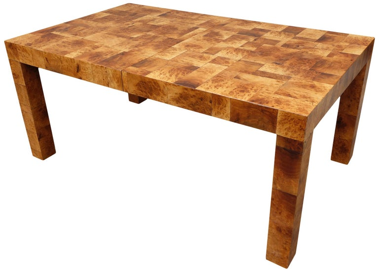 Midcentury Burl and Patchwork Dining Table by Paul Evans For Sale 1