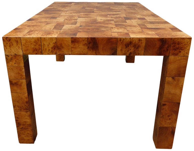 Midcentury Burl and Patchwork Dining Table by Paul Evans For Sale 2