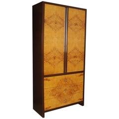 Midcentury Burl Wood Armoire Dresser Milo Baughman Style