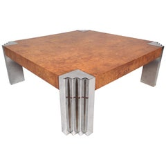 Midcentury Burl Wood and Chrome Coffee Table after Baughman