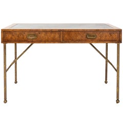 Midcentury Burlwood Desk with Leather Top by Mastercraft
