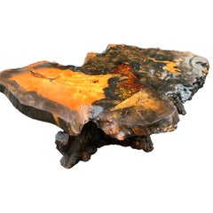 Mid-Century Burlwood Resin Cocktail Or Coffee Table, Burl Wood Co, California
