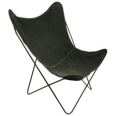 Mid Century Butterfly Chair with Black Canvas Sling Seat