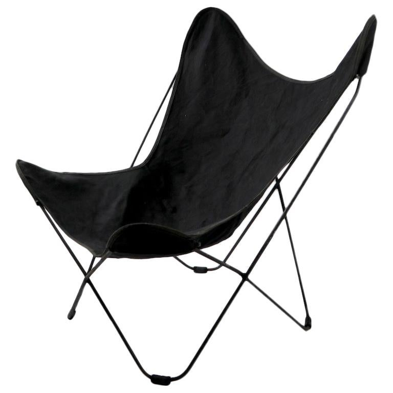 Mid Century  Butterfly Chair with Black Canvass Sling