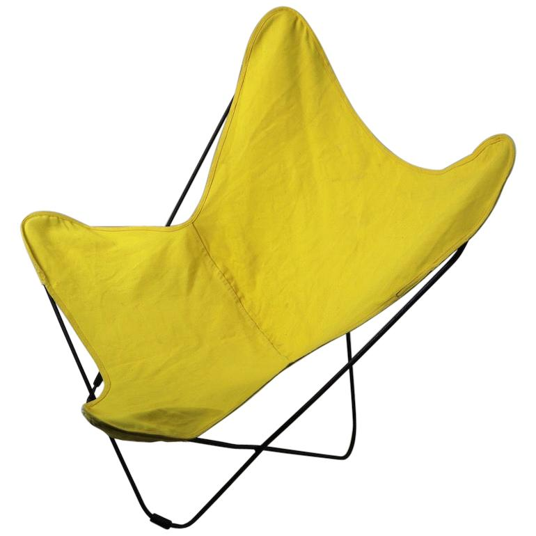 Mid Century Butterfly Chair with Yellow Canvass Sling