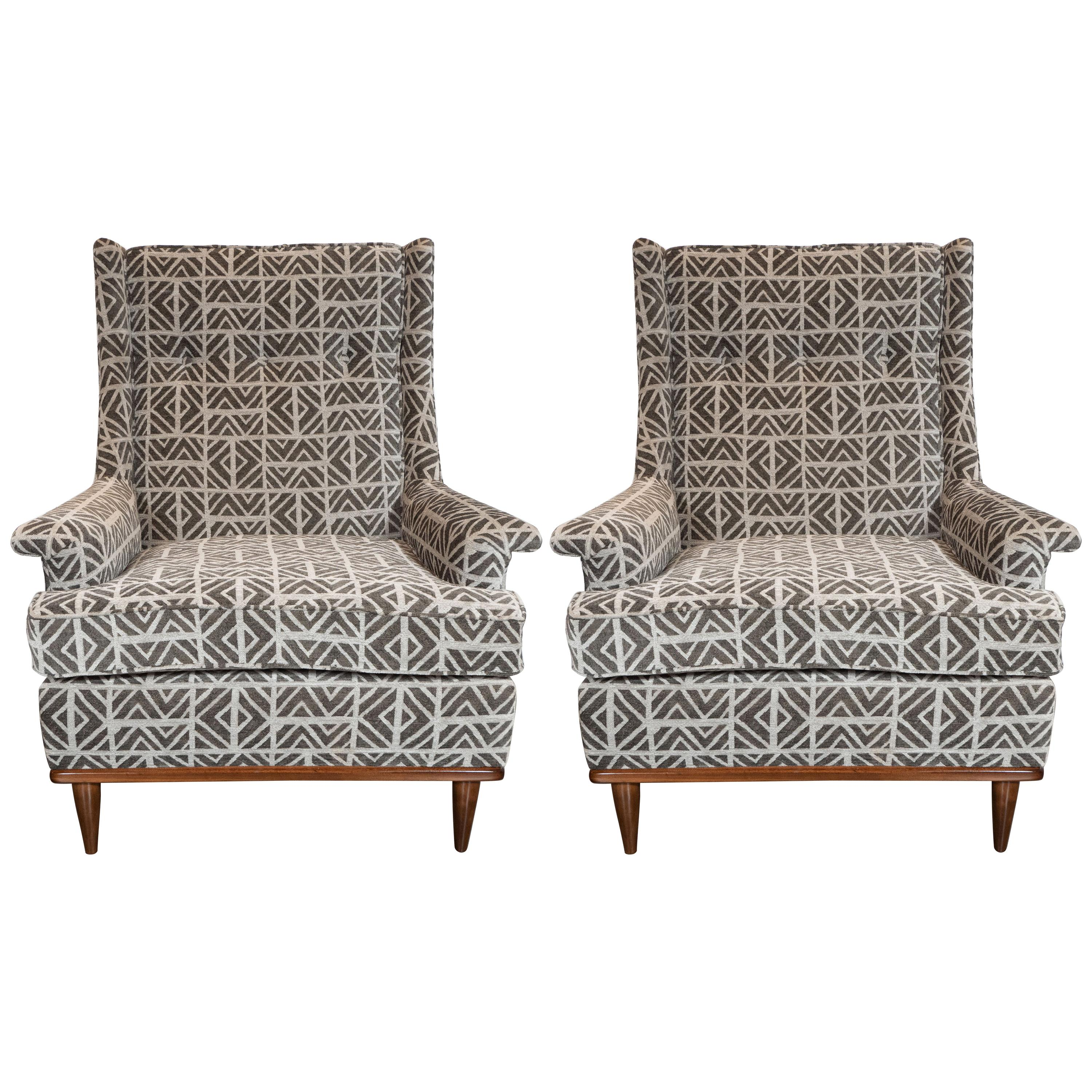 Midcentury Button Back Walnut Armchairs in Holly Hunt Great Plains Fabric