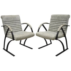 Mid Century Cal-Style Furniture Art Deco Metal Frame Lounge Arm Chairs B - Pair