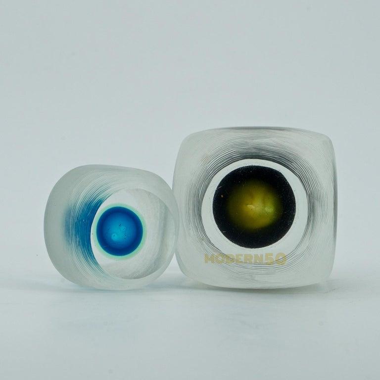 Italian Midcentury Caliari Venini Inciso Art Glass Cube Eyeball Sculpture Paperweights For Sale