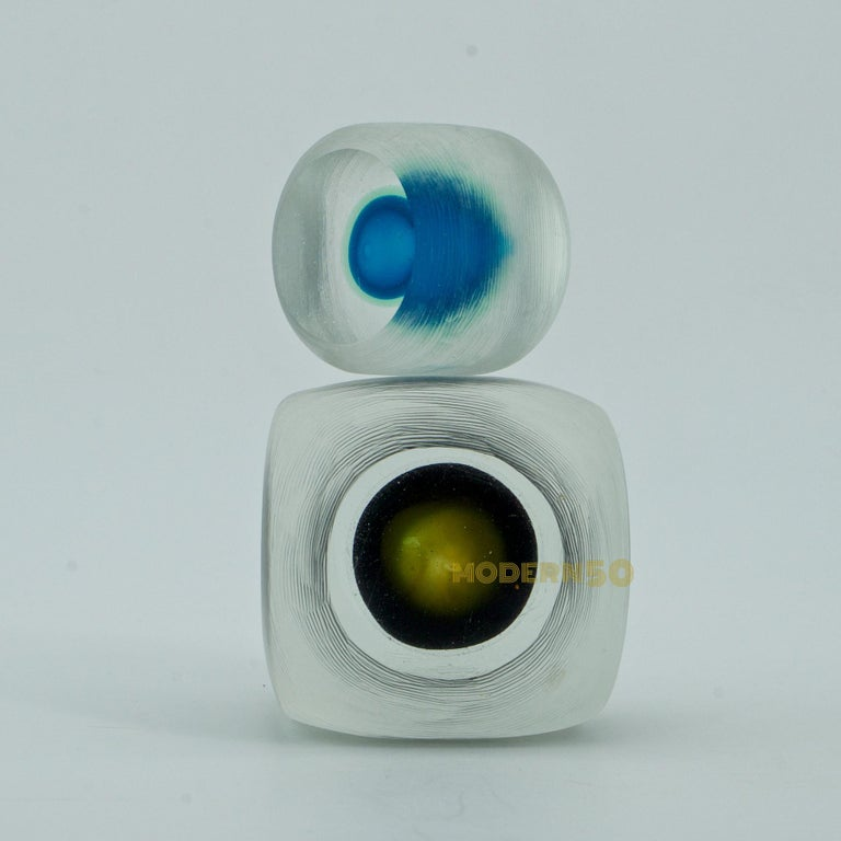 Etched Midcentury Caliari Venini Inciso Art Glass Cube Eyeball Sculpture Paperweights For Sale