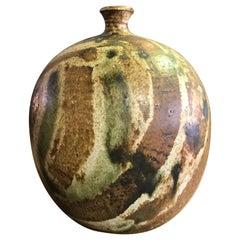 Midcentury California Studio Signed Pottery Ceramic Weed Pot Vase