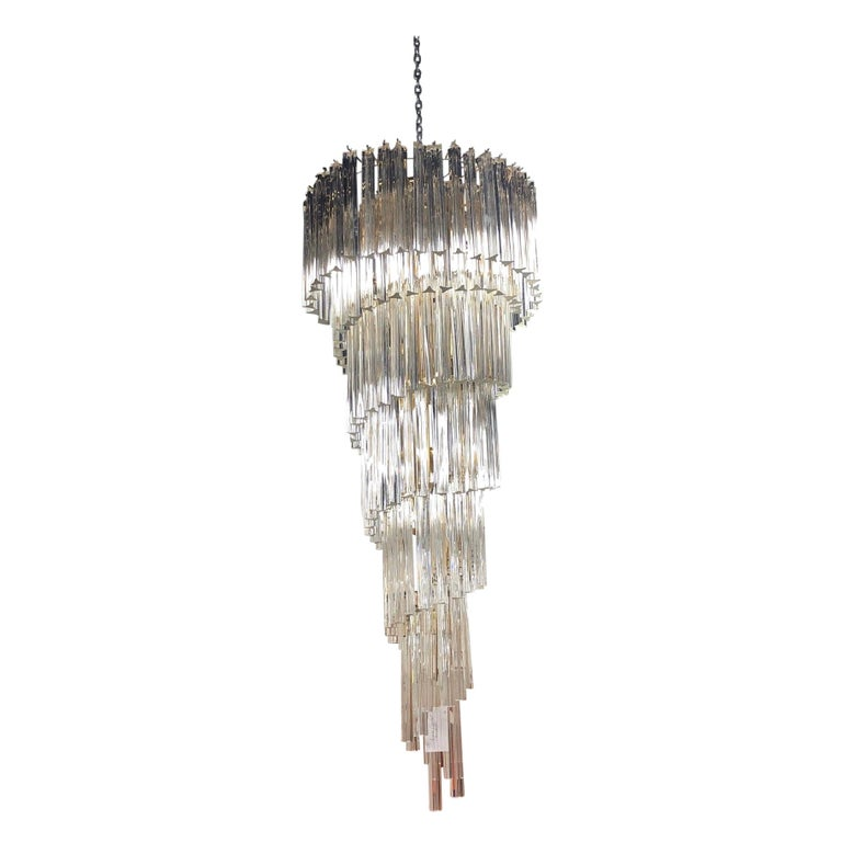 Midcentury Camer Murano Glass Italy Waterfall Chandelier For Sale