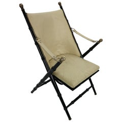 Midcentury Campaign Folding Chair in Leather by Valenti, 1970s