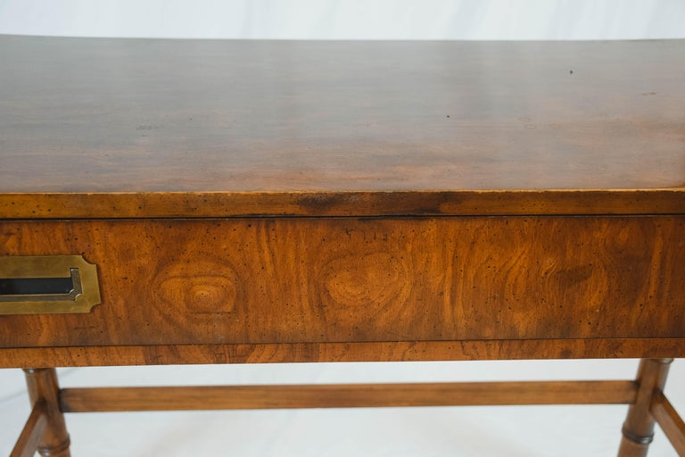 Midcentury Campaign Style Desk by Dixie Furniture In Good Condition For Sale In Houston, TX
