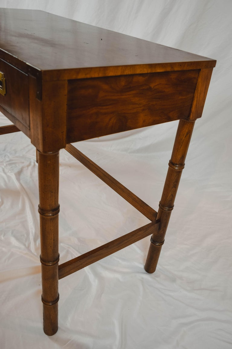20th Century Midcentury Campaign Style Desk by Dixie Furniture For Sale