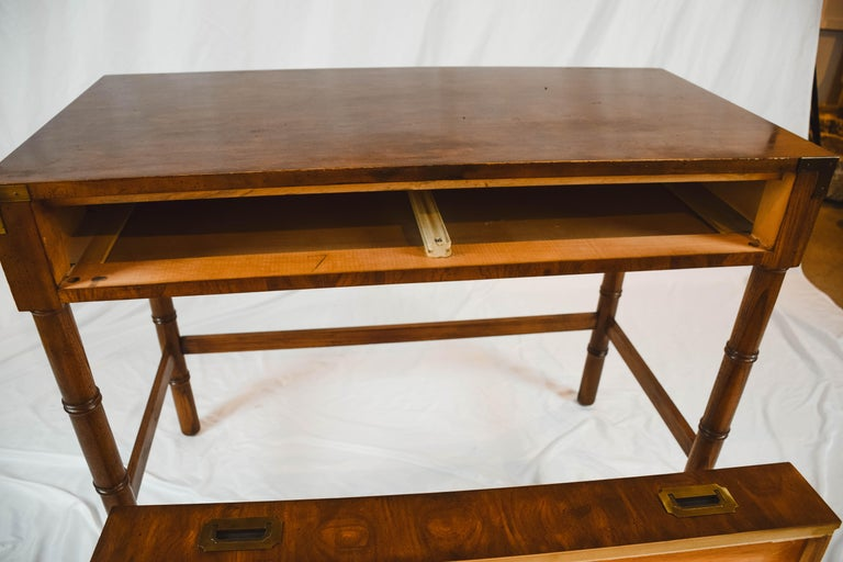 Midcentury Campaign Style Desk by Dixie Furniture For Sale 3
