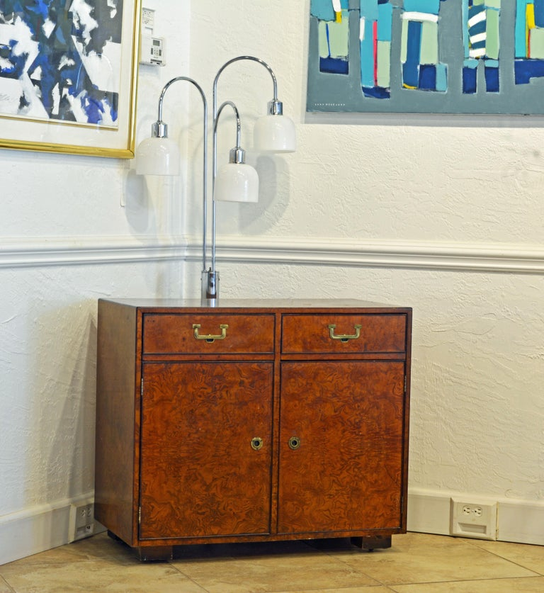 Midcentury Campaign Style Two-Drawer Burled Walnut Cabinet by John Widdicomb For Sale 5