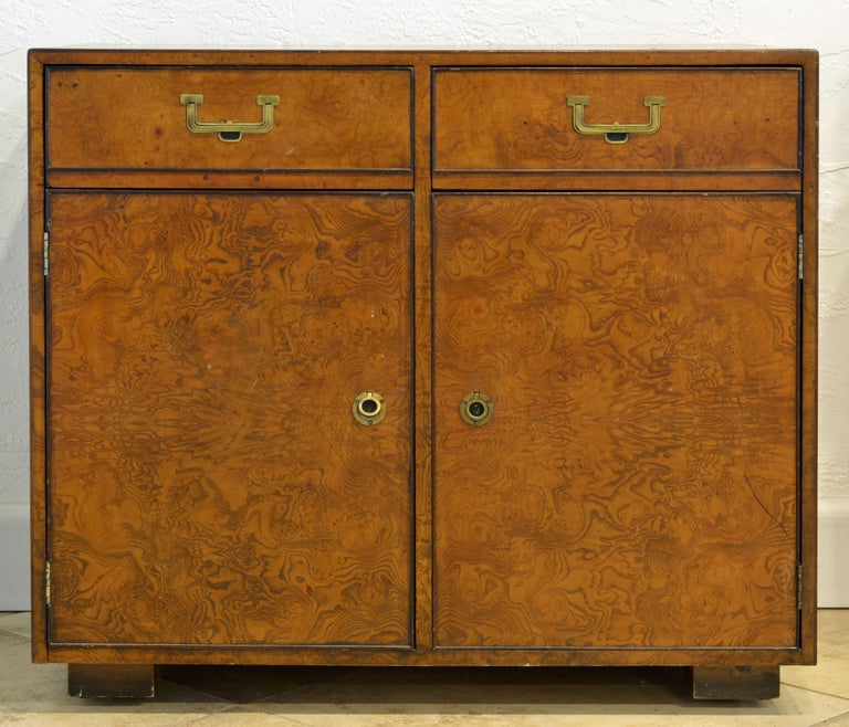 Mid-Century Modern Midcentury Campaign Style Two-Drawer Burled Walnut Cabinet by John Widdicomb For Sale