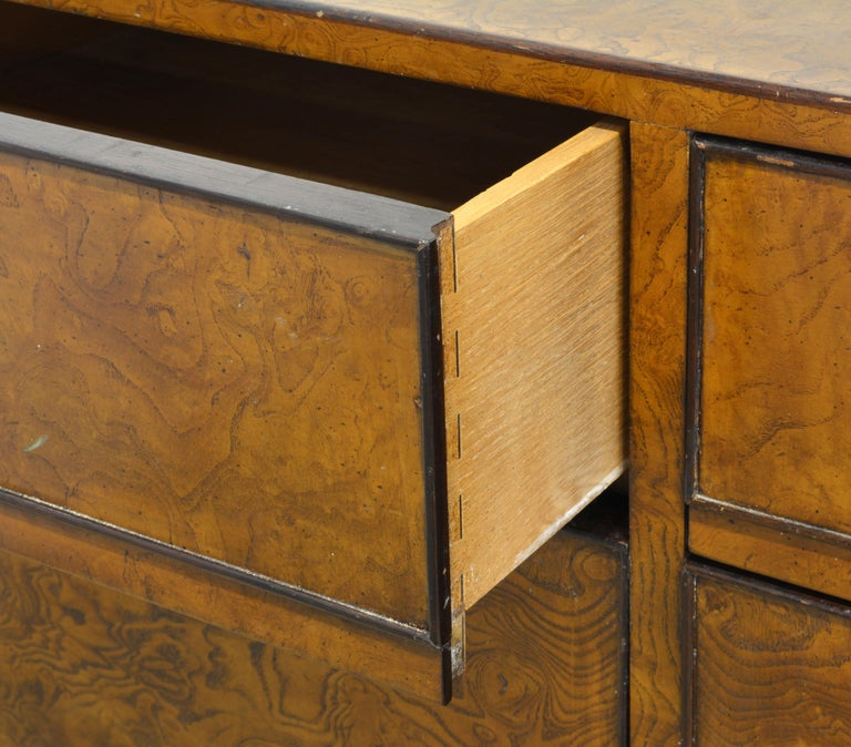 American Midcentury Campaign Style Two-Drawer Burled Walnut Cabinet by John Widdicomb For Sale