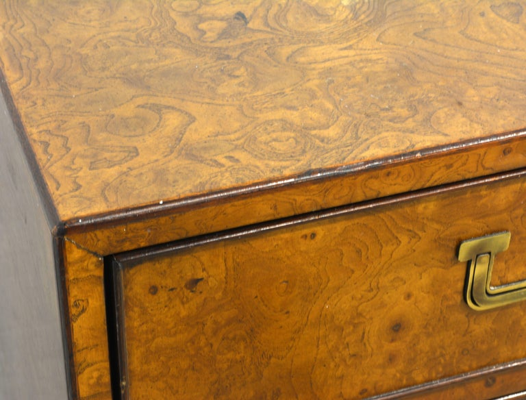 Midcentury Campaign Style Two-Drawer Burled Walnut Cabinet by John Widdicomb For Sale 1
