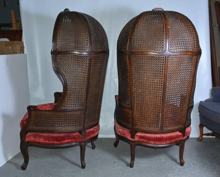 Midcentury Cane Back Porter Chairs For Sale at 1stdibs
