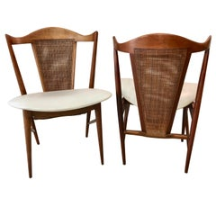 Midcentury Cane Back Walnut Chairs