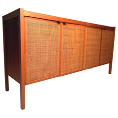 Midcentury Cane Front Credenza