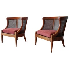 Mid Century Cane Lounge Chairs by Tomlinson