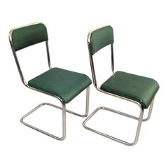Mid-Century Cantilever Pair of Steele Tube Chairs, Hansy Ystad, Sweden, 1950s