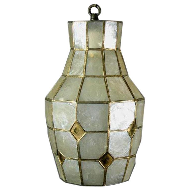 Midcentury Capiz Shell Pendant, circa 1960s