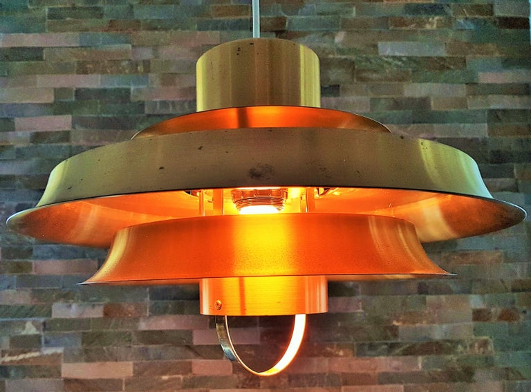 Aluminum Midcentury Carl Thore Pendant Chandelier Danish Modern For Sale
